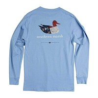 Authentic North Carolina Heritage Long Sleeve Tee in Breaker Blue by Southern Marsh