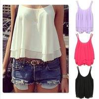 Aliexpress.com : Buy Fashion 2014 Drop Shipping Spring Summer Casual Shirts Sleeveless Spaghetti Strap Sexy Chiffon Women Blouses Vest Tops Clothing from Reliable blouse silk suppliers on KARA FASHION FACTORY | Alibaba Group