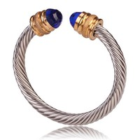 Style Cable Bracelet Polished/Matte Gold with Blue Crystal Gem