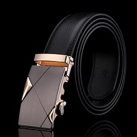 Men's fashion 100% Genuine Leather belts for men High quality metal automatic buckle Strap male Jeans cowboy