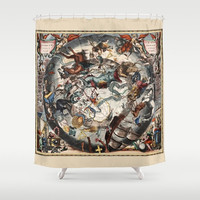 """Shower Curtain - 'Constellations of the Southern Sky' - 71"""" by 74"""" Home, Bathroom, Bath, Dorm, Girl, Christmas, Decor, Pictorial, Stars"""