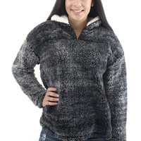 Women's Pullover-Halfzip Pullover Fuzzy Sweater Charcoal