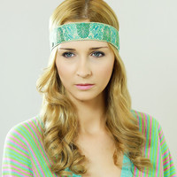 by (Oleel) Boho Chic Headband, Beautiful Owl Ornate Detail, Crochet Turquoise Sequin with Ribbon