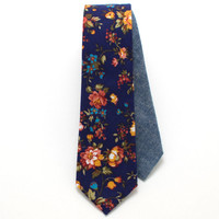 Vintage English Rose Skinny Necktie