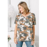 Your Attention Please Oversized Camo Top