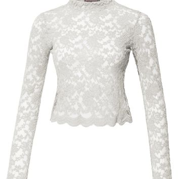 Stretchy Mock Neck Floral Lace Long Sleeve Cropped Blouse Top (CLEARANCE)