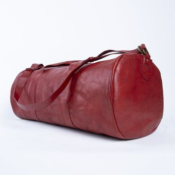 Fiesta | Red Leather Duffel Bag