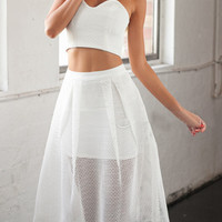 White Strapless Crop Top With High Waist Midi Skater Skirt