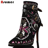 High Quality 2016 Autumn Winter Women Buckle ankle boots high heels Genuine leather motorcycle boots Ethnic flower lady shoes