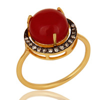 Natural Red Aventurine 18K Gold Plated Sterling Silver Stacking Ring With CZ