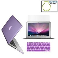 SmackTom 3 in 1 Rubberized Hard Case Skin for Macbook Pro 13 inches with Protective Keyboard Cover - Purple