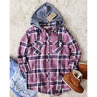The Easton Plaid Hoodie in Mauve