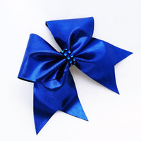 Cheer bow, Dark blue cheer bow, cheerleading bow, cheerleader bow, softball bow, pop warner cheer bow, dance bow, Cheerbow