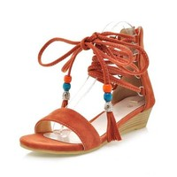 MagicPieces Women's Beaded Faux Suede Strap Wedge Sandal 041834 CDP 0705 Color Orange US 5.5