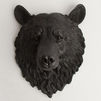 The Nordi - Black Resin Bear Head- Resin Black Faux Taxidermy- Chic & Trendy