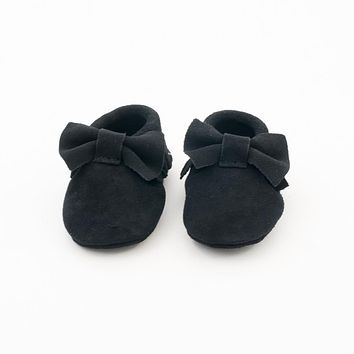 Bow Suede Leather Baby Moccasins Black Beauty