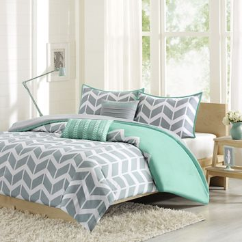 Nadia Reversible Duvet Cover Set in Teal