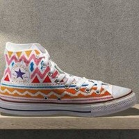 DCCK8NT tribal aztec painted shoes converse custom made