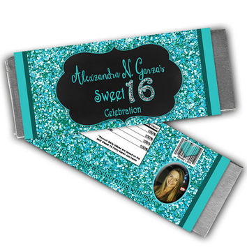Turquoise Glitter Sweet 16 Party Favors - Sweet 16 Candy Wrappers - Photo Sweet 16 Favors - Blue Sweet Sixteen - Personalized Candy