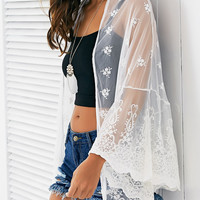 White Full Lace Sheer Cover Up