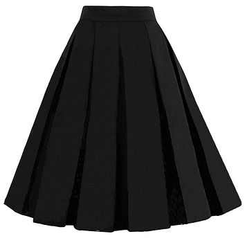 Pleated Midi Skirts, Black,  Sizes XSmall - 3XLarge