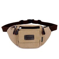 Mens Canvas Waist Pack OutDoor Sports Travelers Four Zipper Fanny Pack