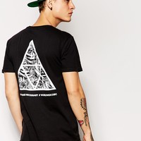 HUF T-Shirt With Triangle Rose Back Print at asos.com