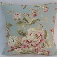 Blue and Pink Floral Pillow, Waverly Fleuretta in Mist, Robins Egg, Vintage Look, 17""
