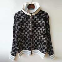 GUCCI Women Men Trending Casual Double G Jacquard Letter Zipper Knit Top Cardigan Sweater Blouse Coat Black