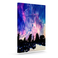 "Theresa Giolzetti ""First Snow"" Purple Blue Outdoor Canvas Wall Art"