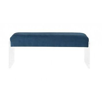 """17"""" X 46"""" X 19"""" Teal Clear Acrylic Upholstery Bench"""