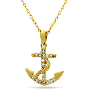 Anchor Necklace, 14K Gold Plated Dainty Anchor Necklace, Tiny Gold Anchor Charm