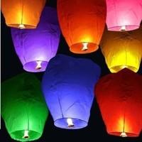30 Chinese Sky Fly Fire Lanterns Wish Party Wedding Birthday Multi Color