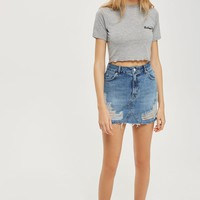 MOTO Rip Denim Mini Skirt | Topshop