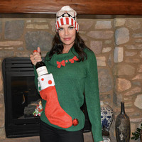 Wine holder stocking, Ugly Christmas sweater, Women Large, new years eve, beer, alcohol, party pocket, jumper, one of a kind, cowl neck