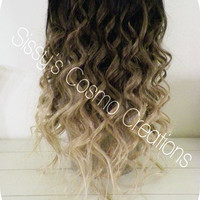 """12"""" Ombre Dip Dye Clip In Human Hair Extensions Beautiful Brown to Blonde Ombre Dip Dye Clip In Human Hair Extensions"""