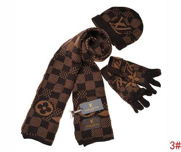 Image of LV Louis Vuitton Hot Three-piece Set Winter Fashion Men's and Ladies Scarves, Hats, Gloves