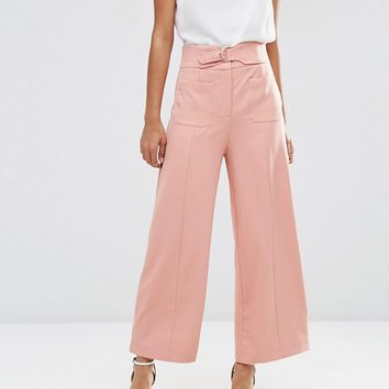 ASOS Wide Leg Pants with Buckle Detail at asos.com
