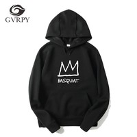 New style hot sale hoodies men women fashion Basquiat Crown printed male female high quality sweatshirts plus size xs-3xl hoodie