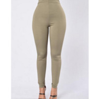 Breaking large size high waist Leggings casual pants Green