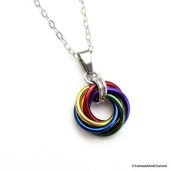 Gay pride chainmaille love knot pendant; rainbow LGBT jewelry