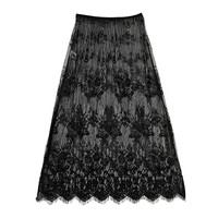 See-Through Laced Long Skirt