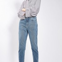 MOTO Mid Blue Mom Jeans - Clothing