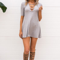 Dianna Lace Up Dress - GREY