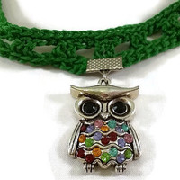 Crocheted Choker, Crocheted Necklace with Silver Whimsical Owl Charm, Owl Necklace, Multicolored Owl Charm Necklace