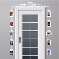 Over The Door Swirl Scroll Photo Frames Set of 10 Vinyl Wall Decals 22540