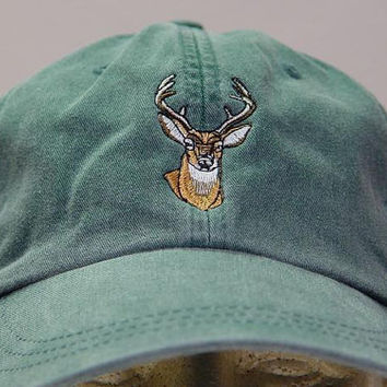 WHITETAIL DEER HAT  - One Embroidered Wildlife Cap - Price Embroidery Apparel - 24 Color Caps Available