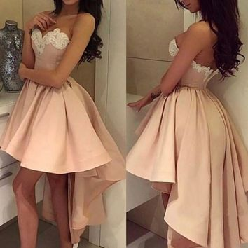 Pink Appliques Sweetheart Homecoming Dress