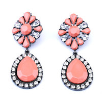 Peach Floral Teardrop Earrings