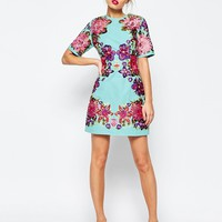 ASOS Lace And Embroidered Flower Mini Shift Dress